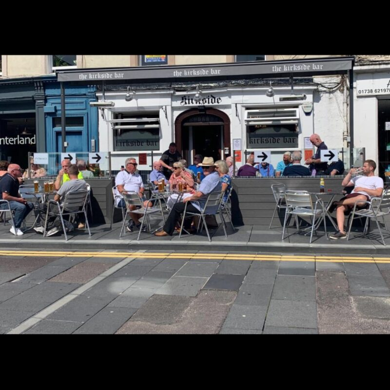 The Kirkside Bar outside terrace on a sunny day